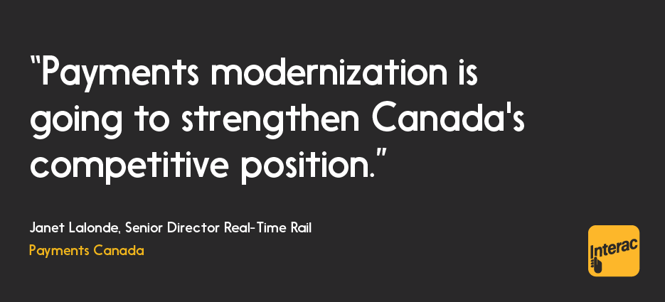 Illustrated quote: Modernization is going to strengthen Canada's competitive position. — Janet Lalonde